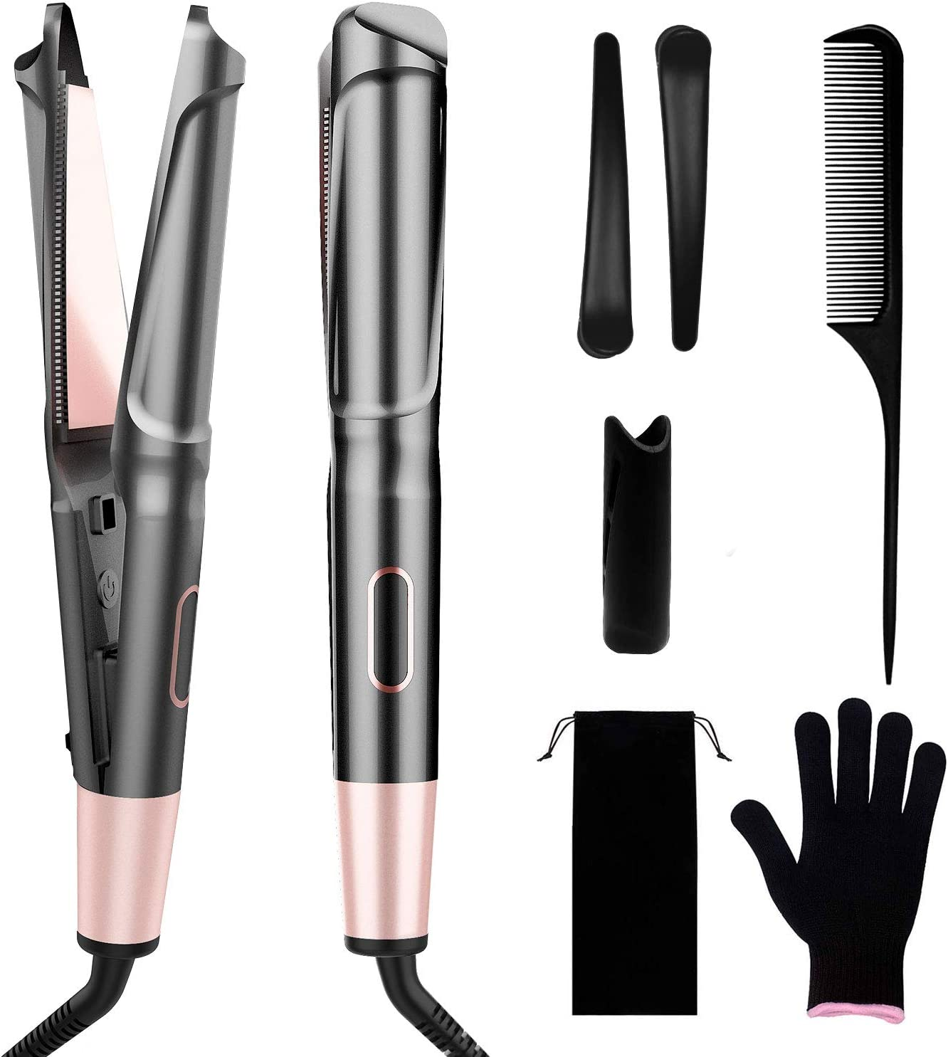 COOLKESI Ionic Hair Straightener & Curler 2 in 1, Tourmaline Ceramic Twisted Curling Straightening Flat Iron, Fast Heating Hair Styling Tools with Adjustable Temperature, LCD Display & Auto Shut-Off