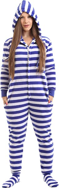17d7268b7a Adult Onesie Footed Pajamas Blue White Stripe Jumpsuit XS-XXL (Size by  Height)
