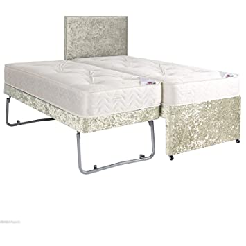 GUEST BED WITH PULLOUT TRUNDLE IN CRUSH VELVET WITH MATTRESS