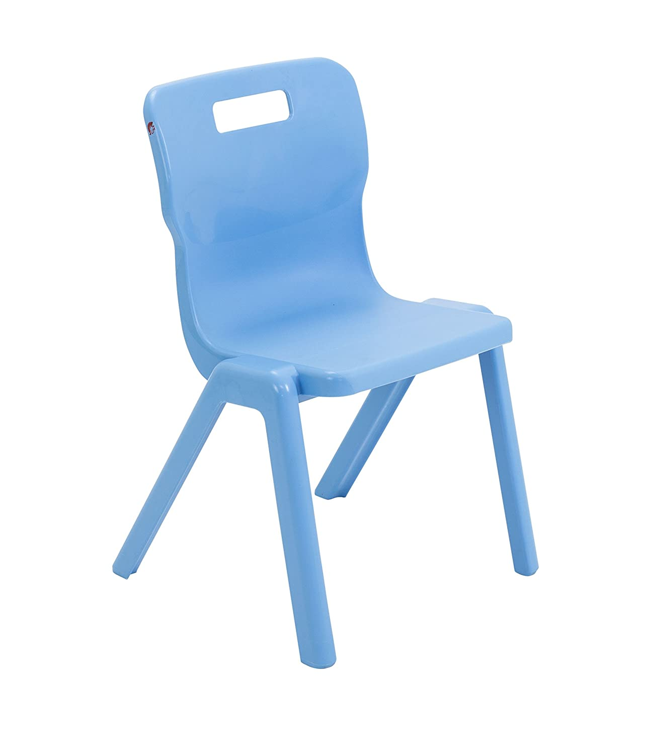 Titan One Piece Classroom Chair, Plastic, Sky bluee, Size 4, Ages 89 Years, Pack of 3