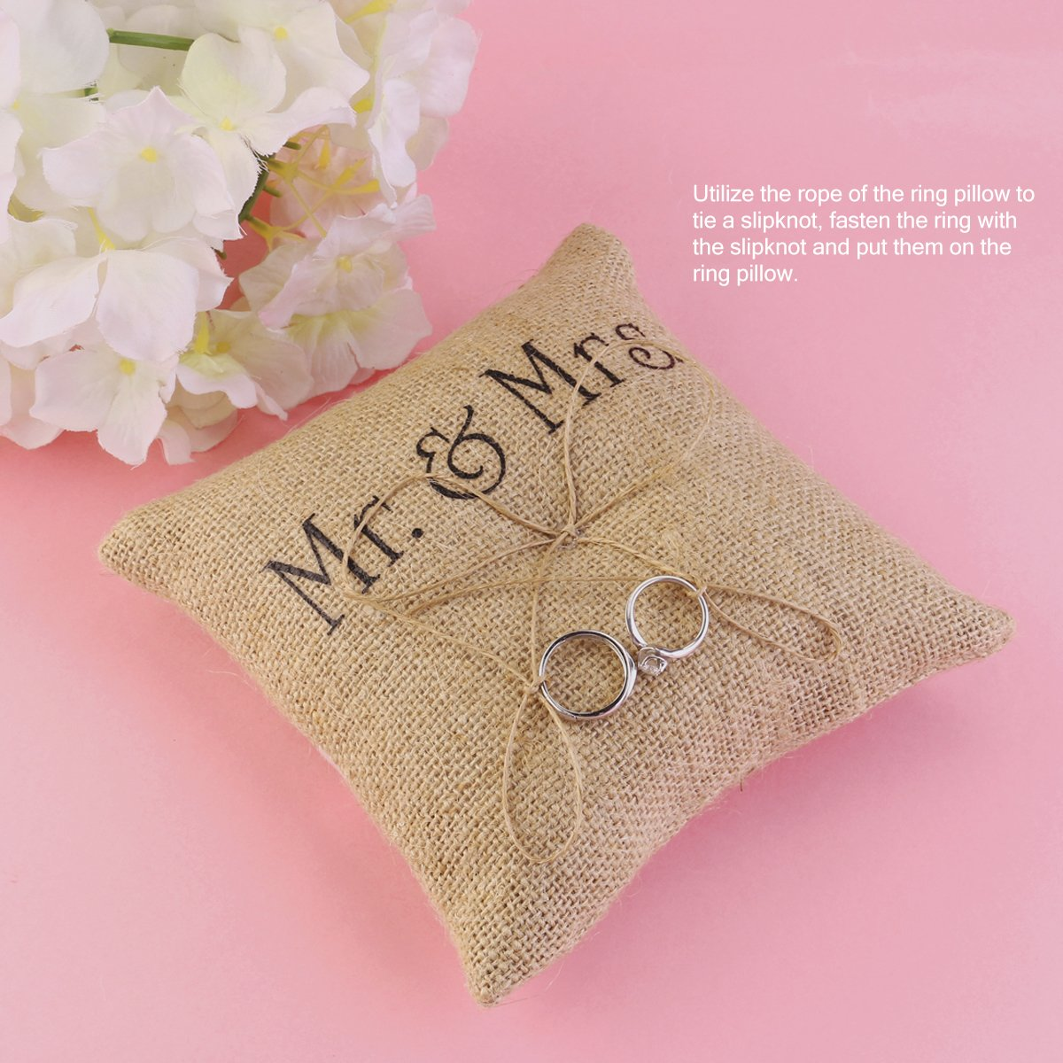 Amazon.com: Mr Mrs Burlap Jute Wedding Ring Cushion Ring Bearer ...