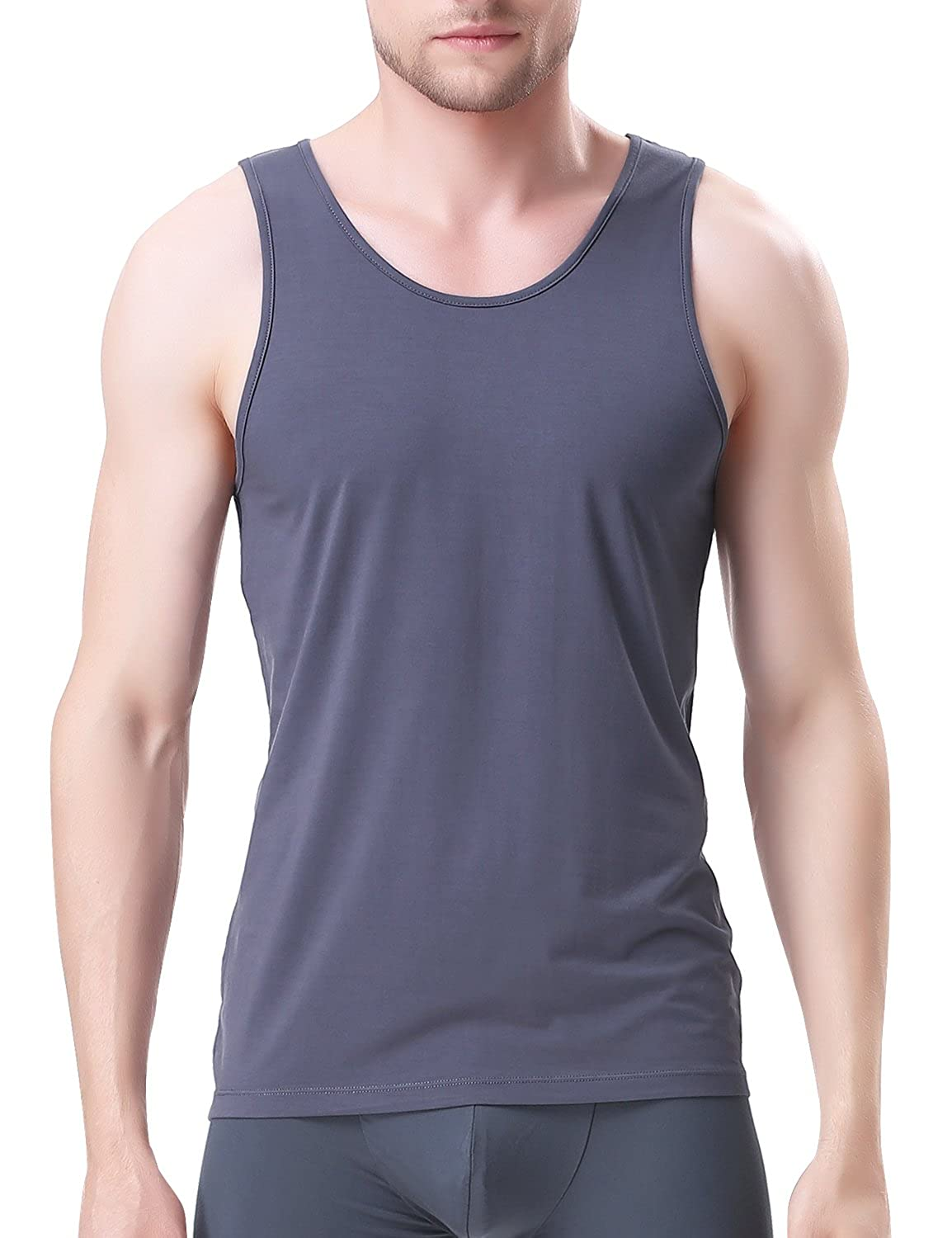 David Archy Mens Bamboo Rayon /& Cotton Undershirts Crew Neck Tank Tops in 3 or 4 Pack