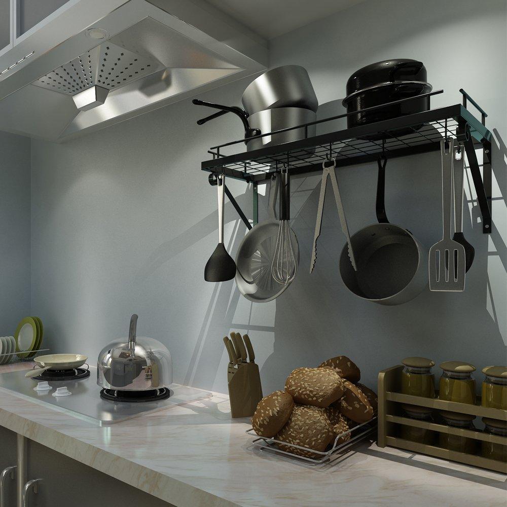 Küchenregal, Küchenwand Topf-Rack, mit 10 Haken, schwarz: Amazon.de ...