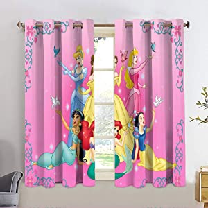 STTYE Decorative Curtains Beauty and The Beast Treatment Curtains for Bedroom Home Decor Window Drape W55 x L63