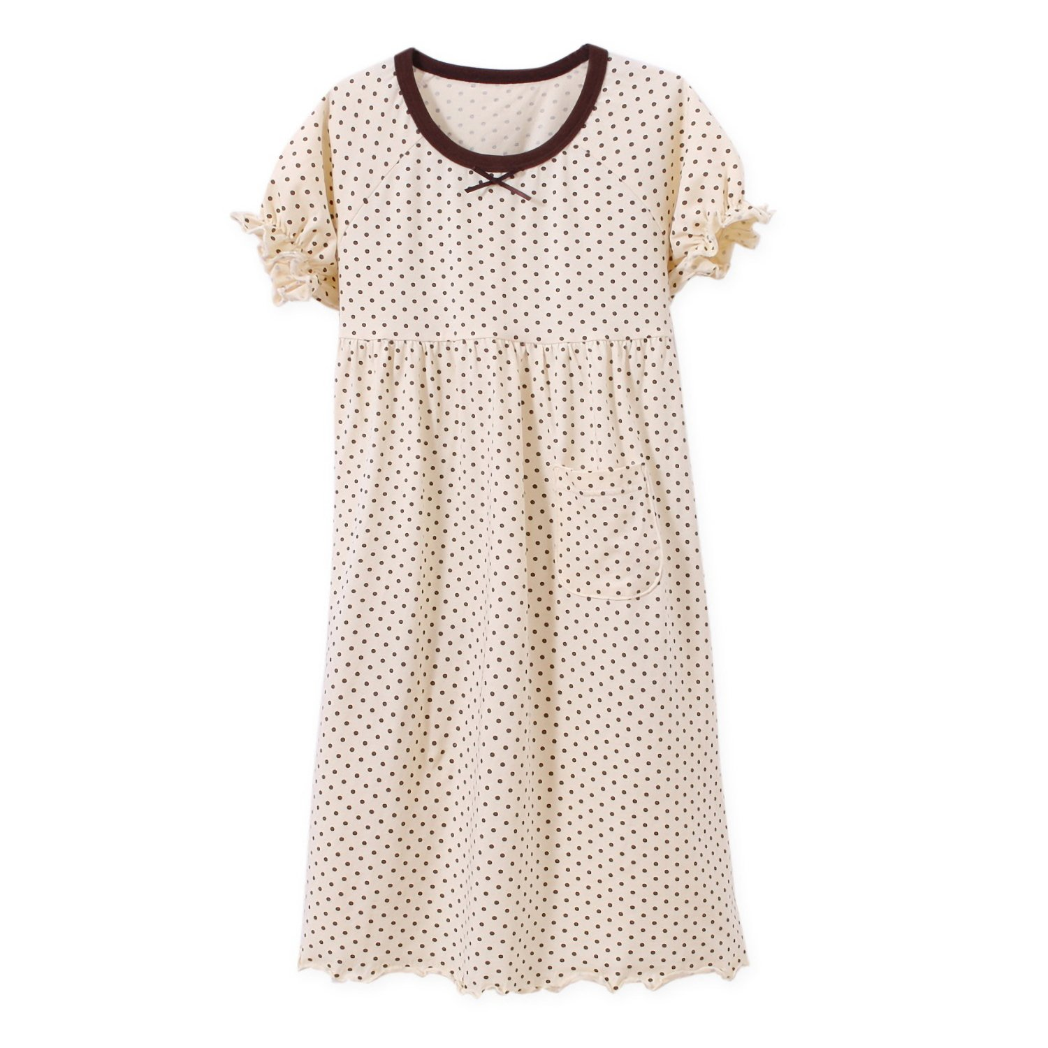 BLOMDE Girls Polka Dots Nightgowns Bowknot Sleepwear Cotton Nightdress for 3-12 Years