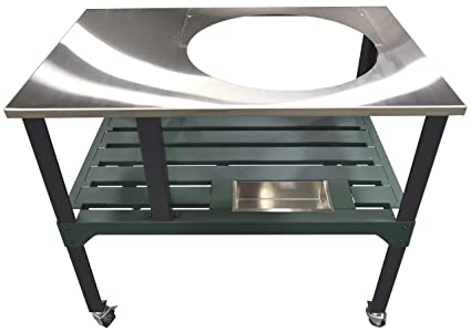 Strange Rmp Universal Steel Grill Cart For Round Ceramic Grill Fits A Large Big Green Egg Grill Stainless Steel Finish Table Top With Rotating And Locking Spiritservingveterans Wood Chair Design Ideas Spiritservingveteransorg