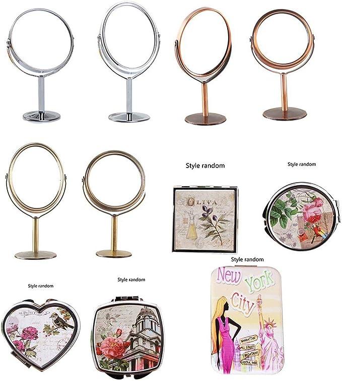 2 LIANQI 828t Espejo de Metal Coreano Espejo de Maquillaje Espejo de tocador Espejo Giratorio de Escritorio Espejo de Maquillaje con funci/ón de Aumento 1 Plata