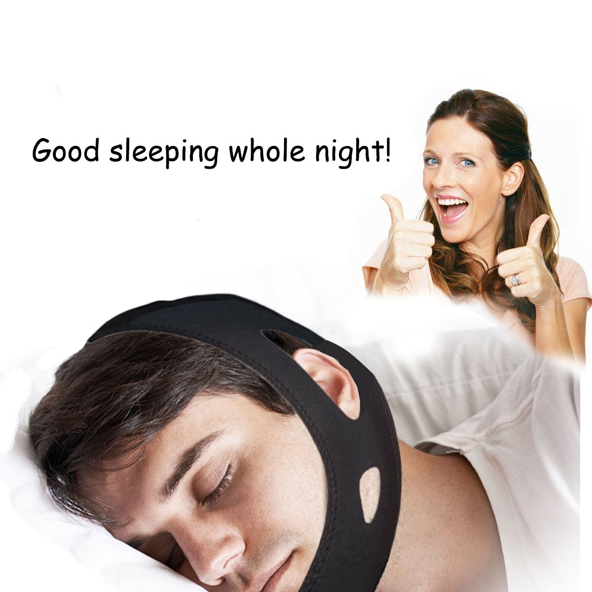 Boxalls Snore Chin Strap,Adjustable Anti-Snoring Jaw Chin Strap Stop Snoring Strap for Women Men (Black)