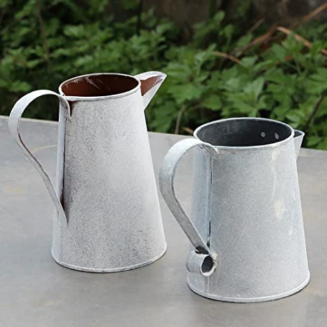 Deko Kanne Vase Vintage Garden Metall silber Gartendeko Landhaus