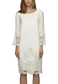 44702b561c64 APART Damen-Kleid Satinkleid mit Schleife Creme Größe 34  Amazon.de ...