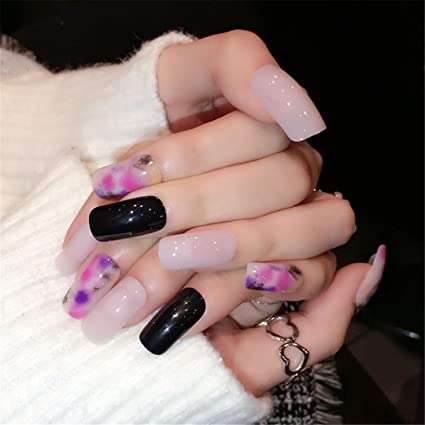 Amazon.com : Extra Long False Nails Pre-Designed Curved Pink Marble Press On Nails Including Glue Sticker Z716 Z337 : Beauty