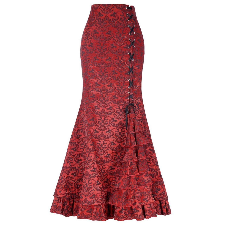 d6fd38270a Bohemia Floral Print Skirt Vintage Floral Long Skirts Women Beach Summer  Elegant Beach Maxi Skirt Boho high Waist at Amazon Women's Clothing store:
