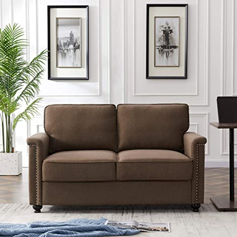 2 Seater Sofa Couch Traditional Loveseat Sofa With Thick Cushions And Nailhead Trim For Living Room Bedroom Modern Fabric Upholstered Loveseat Cushioned Sofa For 2 People Easy Assembly Brown Kitchen