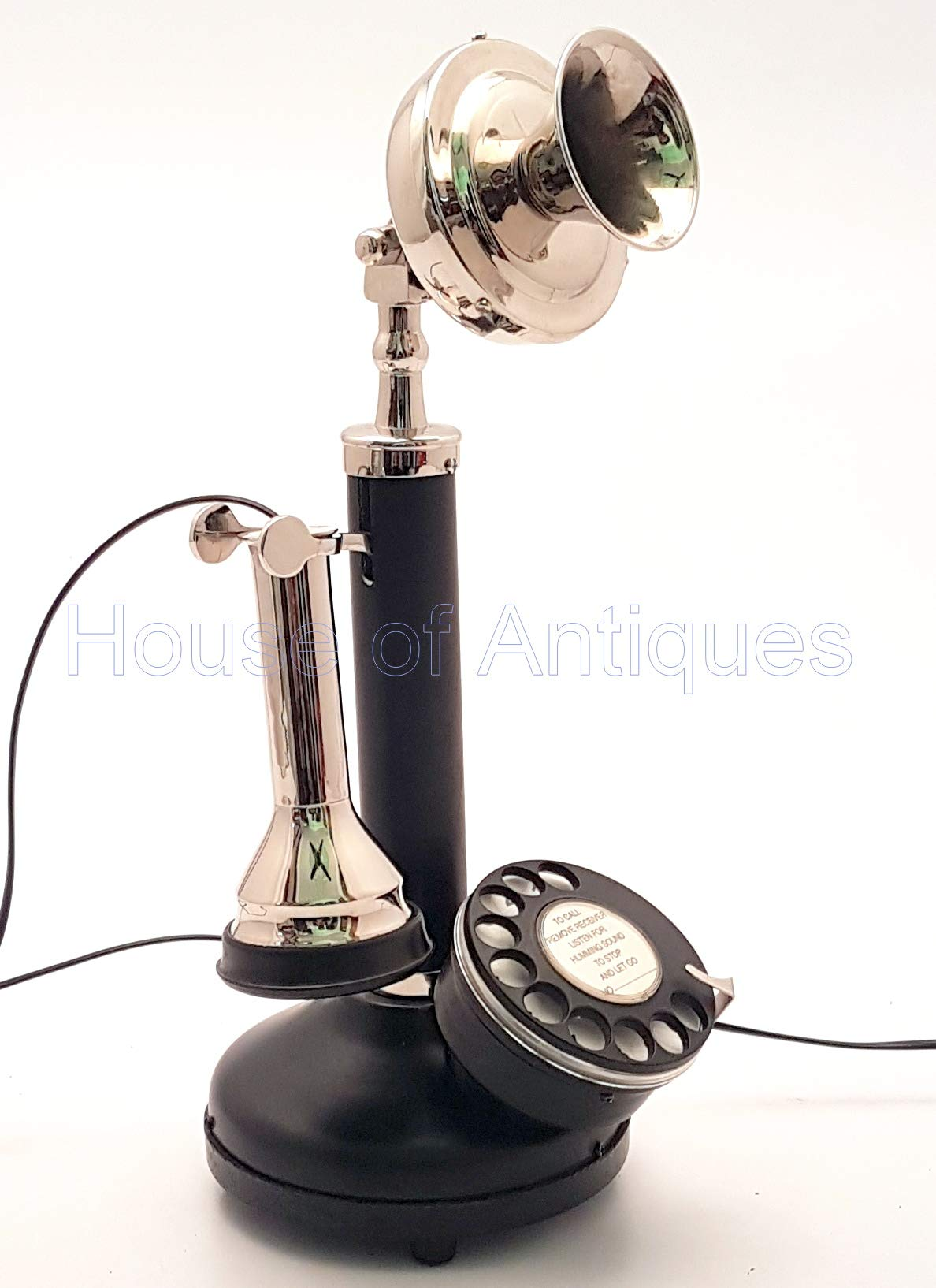 HOUSE OF ANTIQUE Antique Replica Rotery Dial Functional Candlestick Home Decor Desk Telephone. by HOUSE OF ANTIQUE