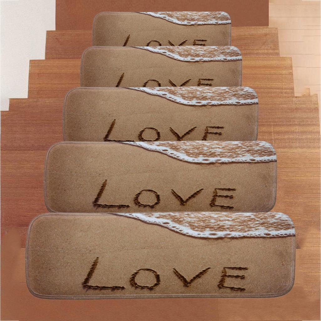 "SUKEQ 5PCS Non Slip Carpet Stair Treads, Anti Skid Rubber Backing Step Mat Coral Fleece Modern Indoor Stair Protector for Hard Floor Staircase, 8.66""X27.55"" (Love) by SUKEQ (Image #4)"