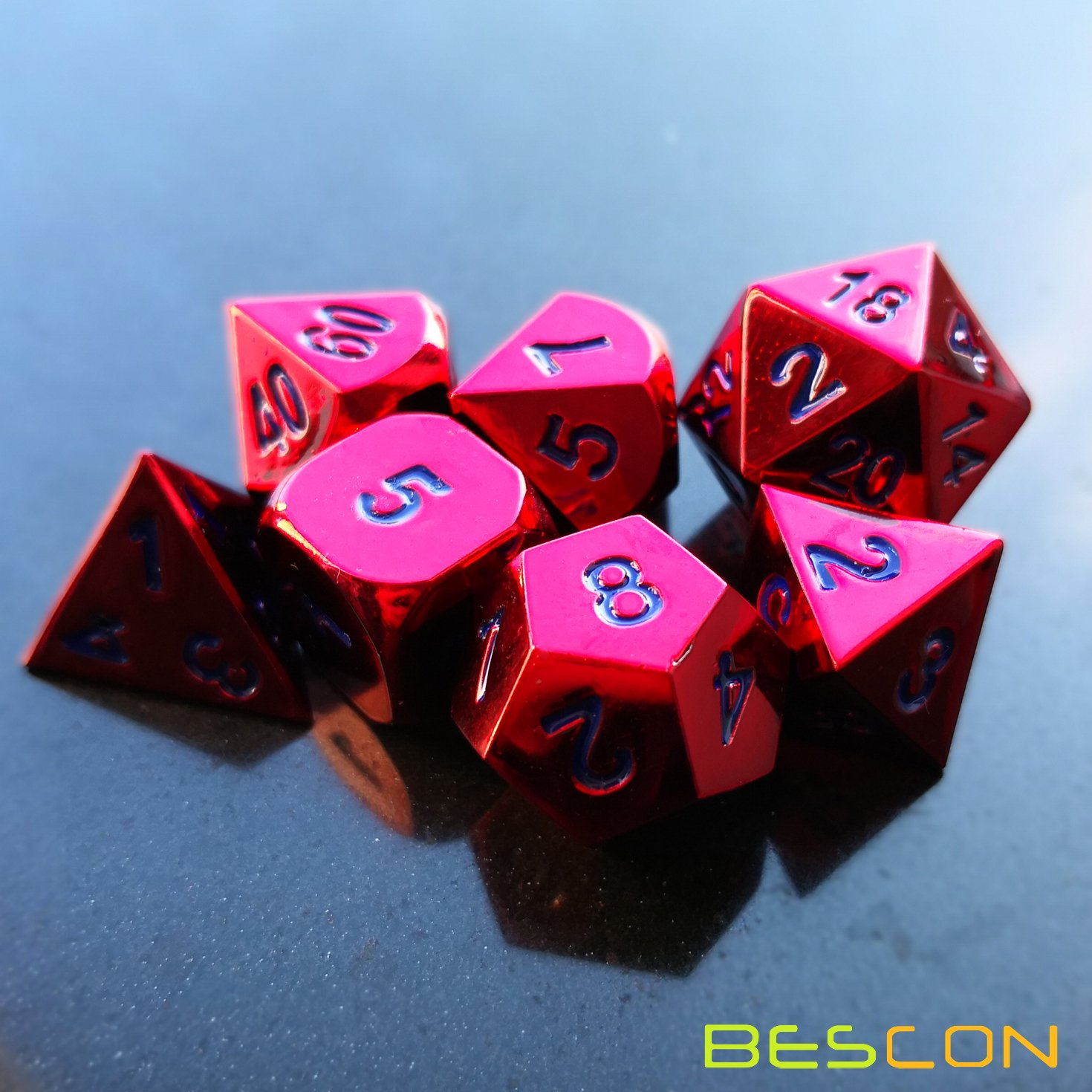 Metal RPG Role Playing Game Dice Set BESCON DICE Bescon 7pcs Set Heavy Duty Metal Dice Set Glossed Color of Wine Colorful Solid Metallic Polyhedral D/&D Dice Set Wine Red with Royal Blue Numbers