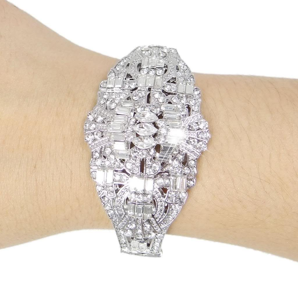 1930s Jewelry | Art Deco Style Jewelry EVER FAITH The Great Gatsby Inspired Art Deco Bracelet Clear Austrian Crystal $20.99 AT vintagedancer.com