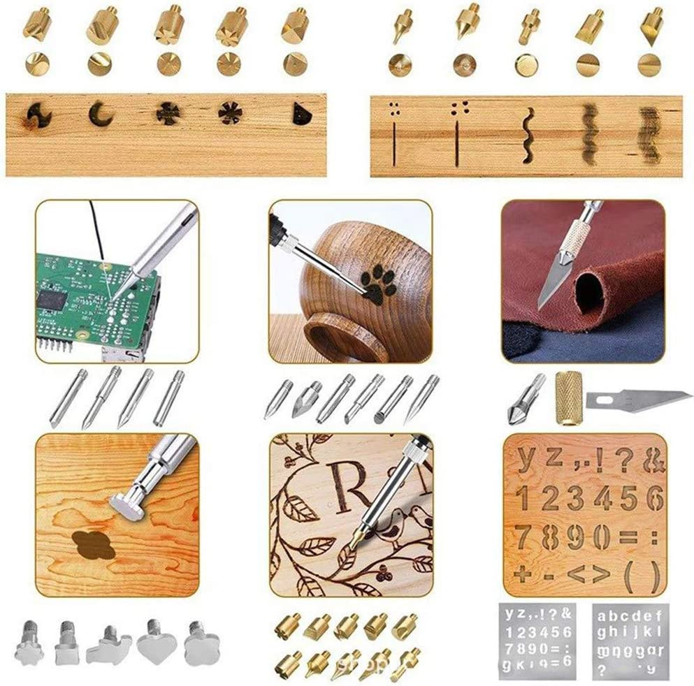 Iron//Leather Soldering Pyrography Pen with Adjustable On-Off Switch Control Temperature Wood Burning Tool for Embossing//Carving//Soldering Tips//Carrying Box Wood Burning Kit 79 Pcs