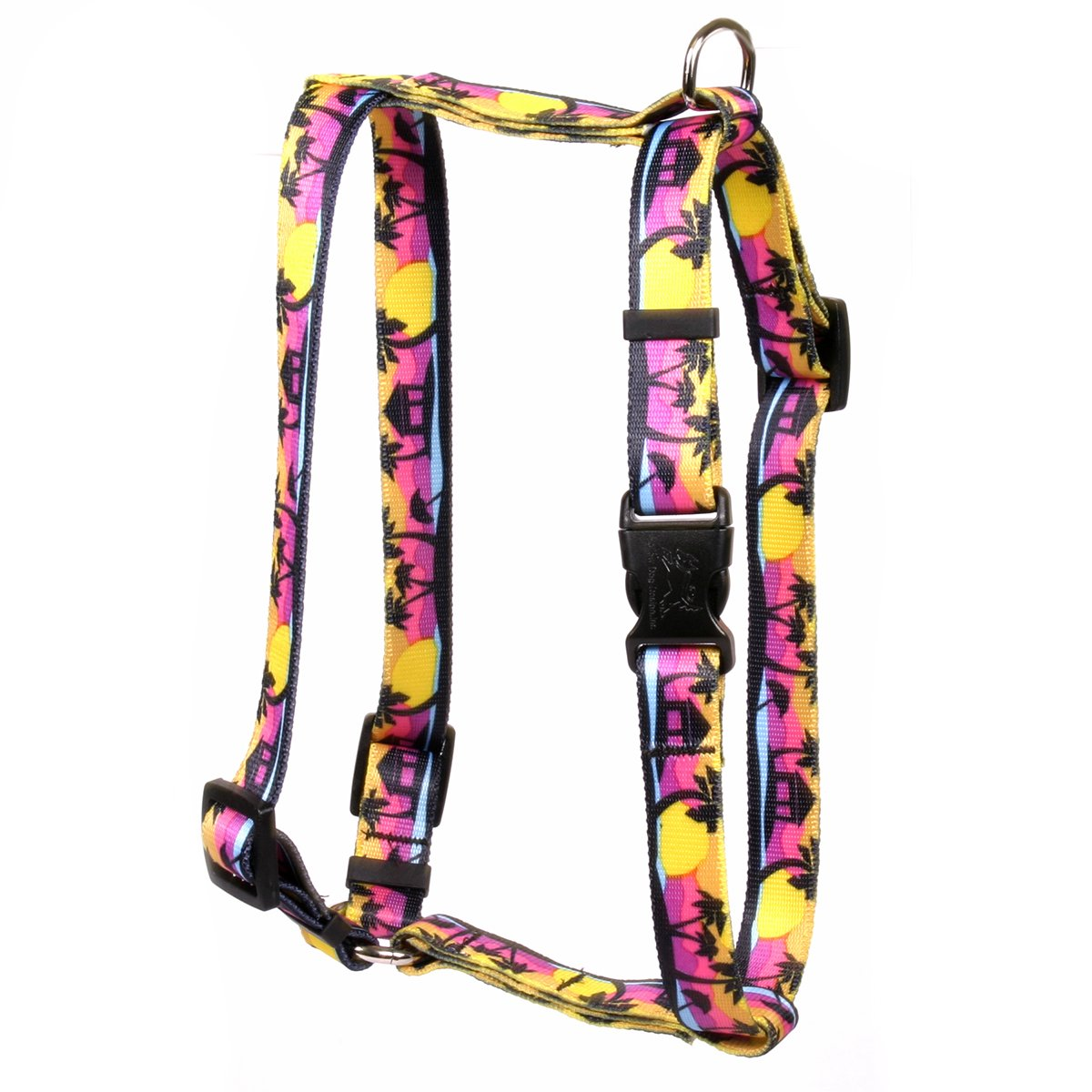 Yellow Dog Design Palm Tree IslRoman Style Dog Harness, Small/Medium-3/4 Wide fits Chest of 14 to 20''