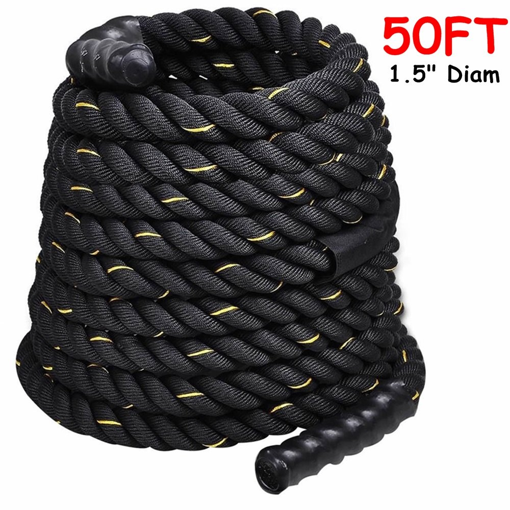 1.5'' Poly Dacron 50ft/Black Battle Rope Workout Strength Training Undulation TKT-11 by TKT-11