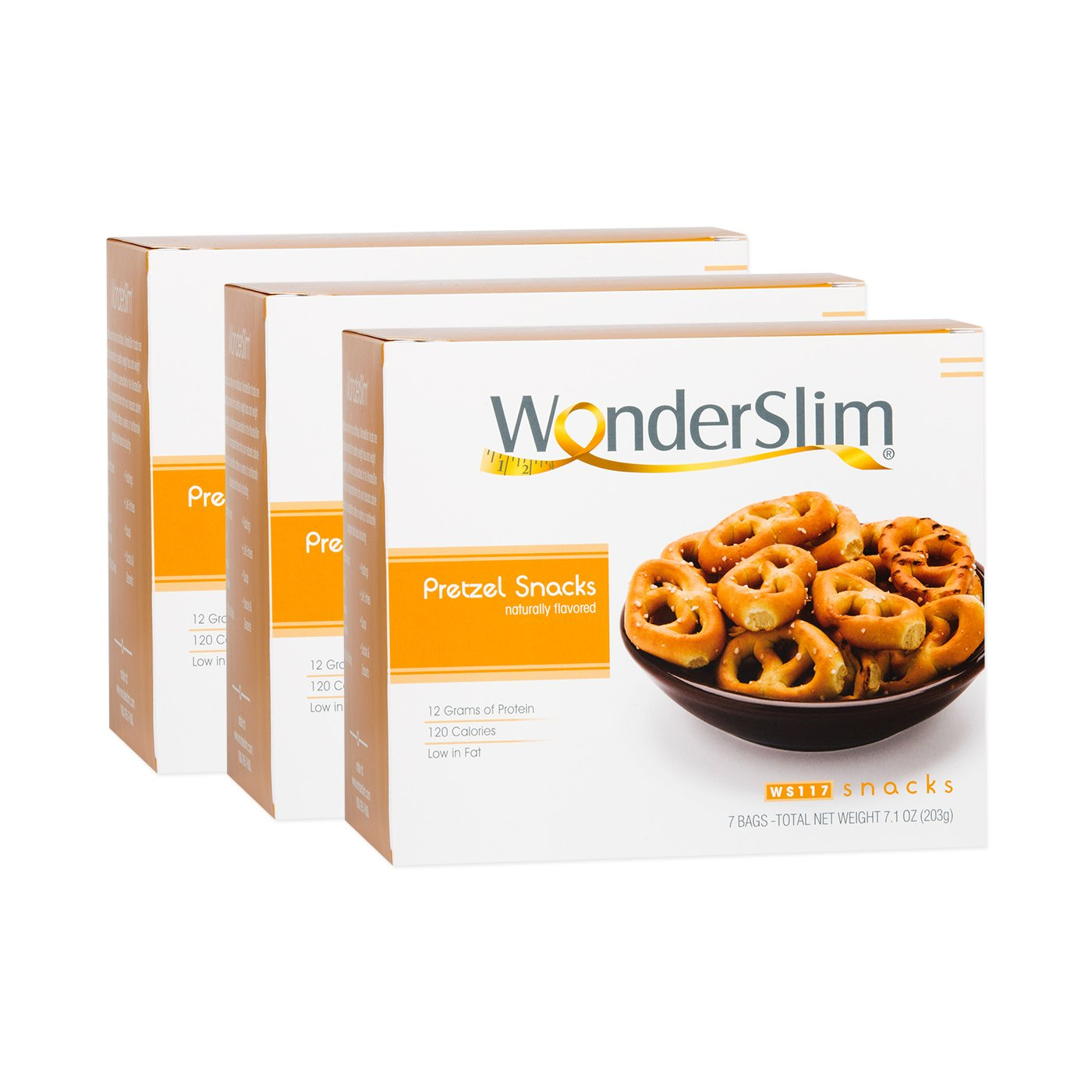 WonderSlim High Protein Pretzel Snacks - Low-Carb Diet Healthy 12g Protein Snack For Weight Loss - 3 Box Value Pack (Save 5%)