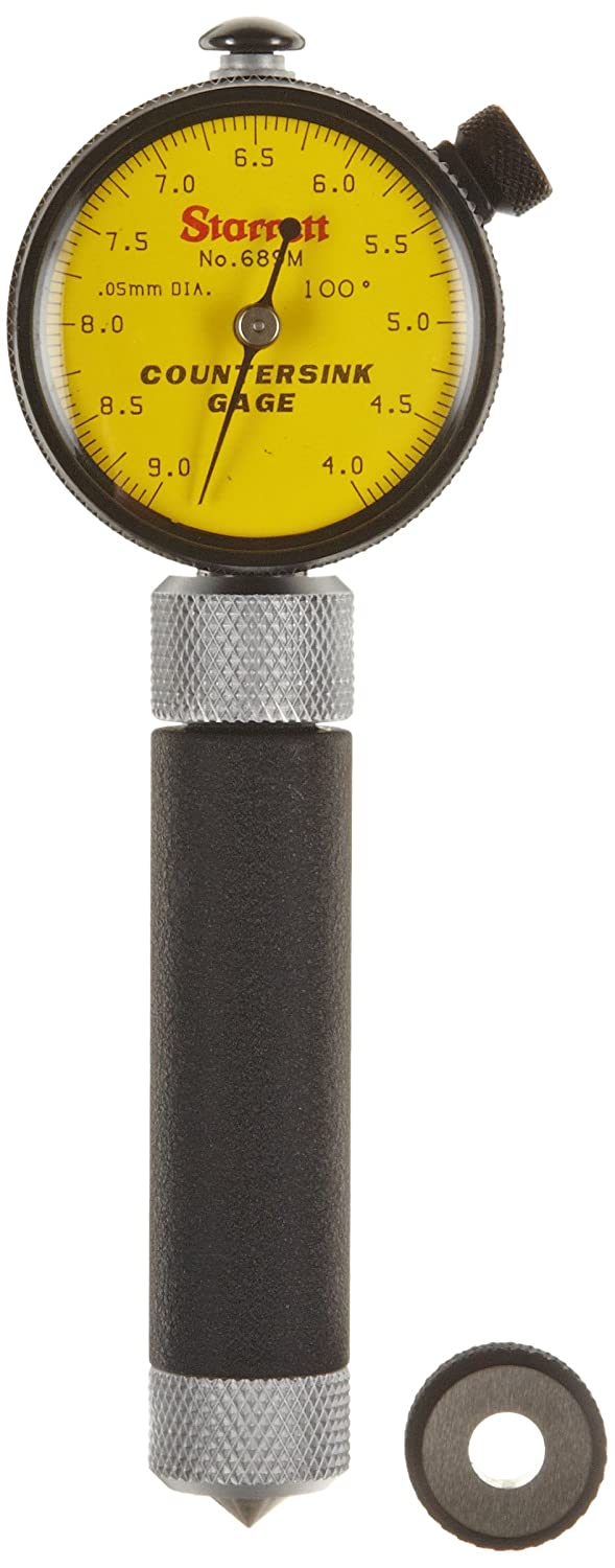 4-9mm Range 100 Degree Angle Starrett 689M-2Z Millimeter Reading Countersink Gauge With Yellow Dial