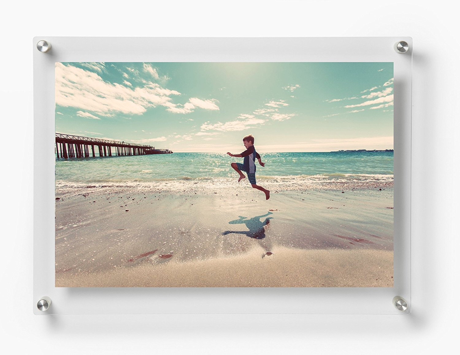 Wexel Art 19x23-Inch Double Panel Framing Grade Acrylic Floating Frame with Silver Hardware for 16x20-Inch Art & Photos