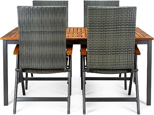 CHILLVERT Conjunto mesa de jardín Blackbird de madera de eucalipto FSC y aluminio 160 x 100