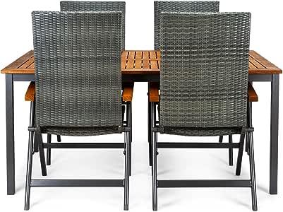 CHILLVERT Conjunto mesa de jardín Blackbird de madera de eucalipto FSC y aluminio 160 x 100 x 74 cm y 4 sillas de jardín Dominica posiciones de madera de eucalipto FSC, ratán