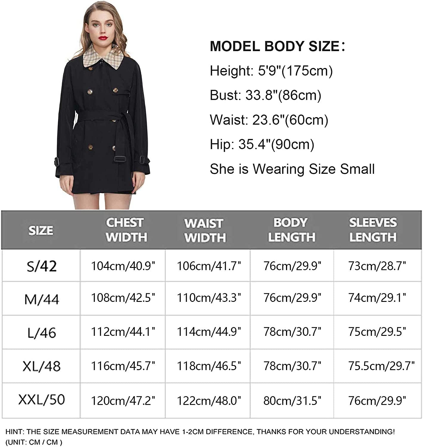 MIEGOFCE Women/'s Double-Breasted Short Trench Coat with Belt