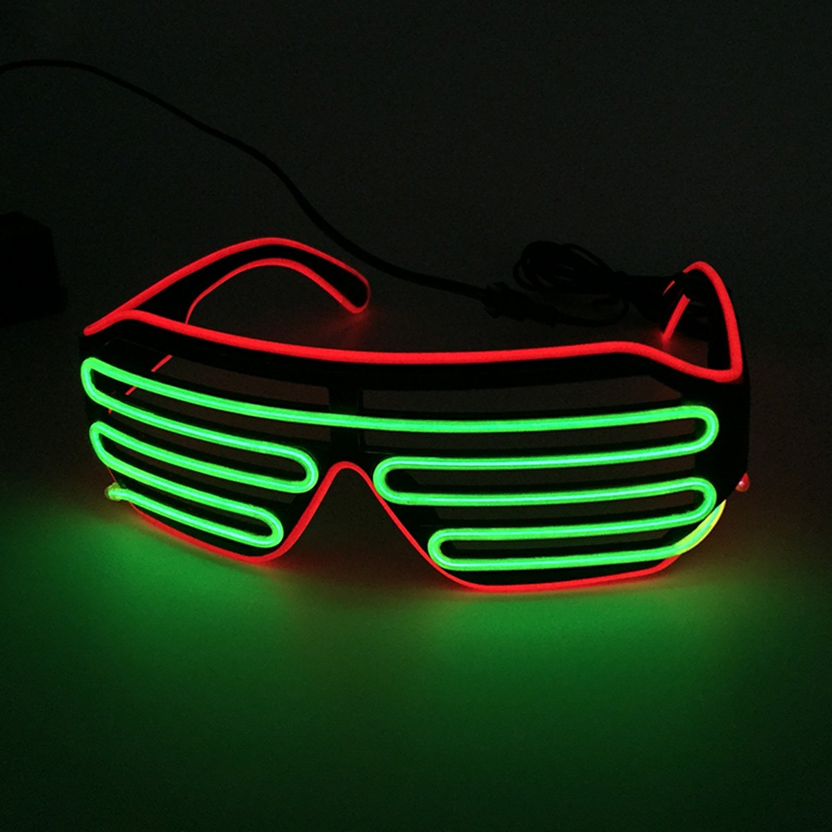 Two Color Mixed EL Wire Glasses LED Light Up Rave Party Glasses For Night Club and Ball Party(Red Frame+Lime Green)