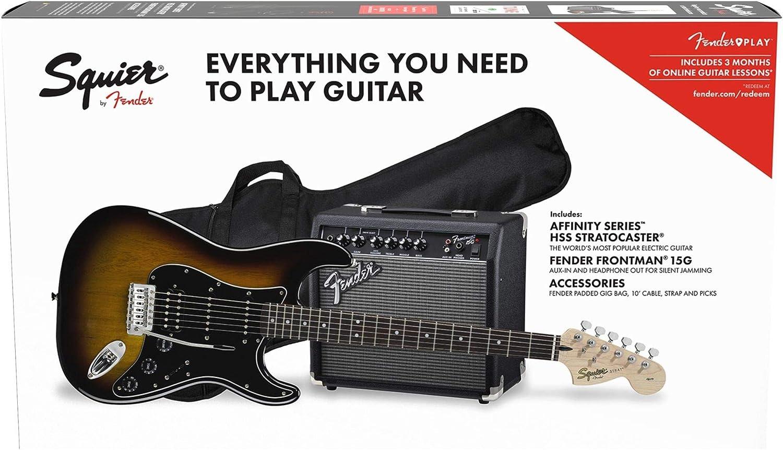 Fender Squier Affinity Stratocaster LRL HSS Brown Sunburst + Frontman 15G + Funda Guitarra Eléctrica