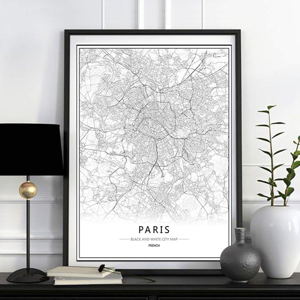 LUFA Londres New York Paris Toile Peinture murale du monde Carte de la ville affiche blanche noire R/ésum/é squelette Huile Unframed Dessin