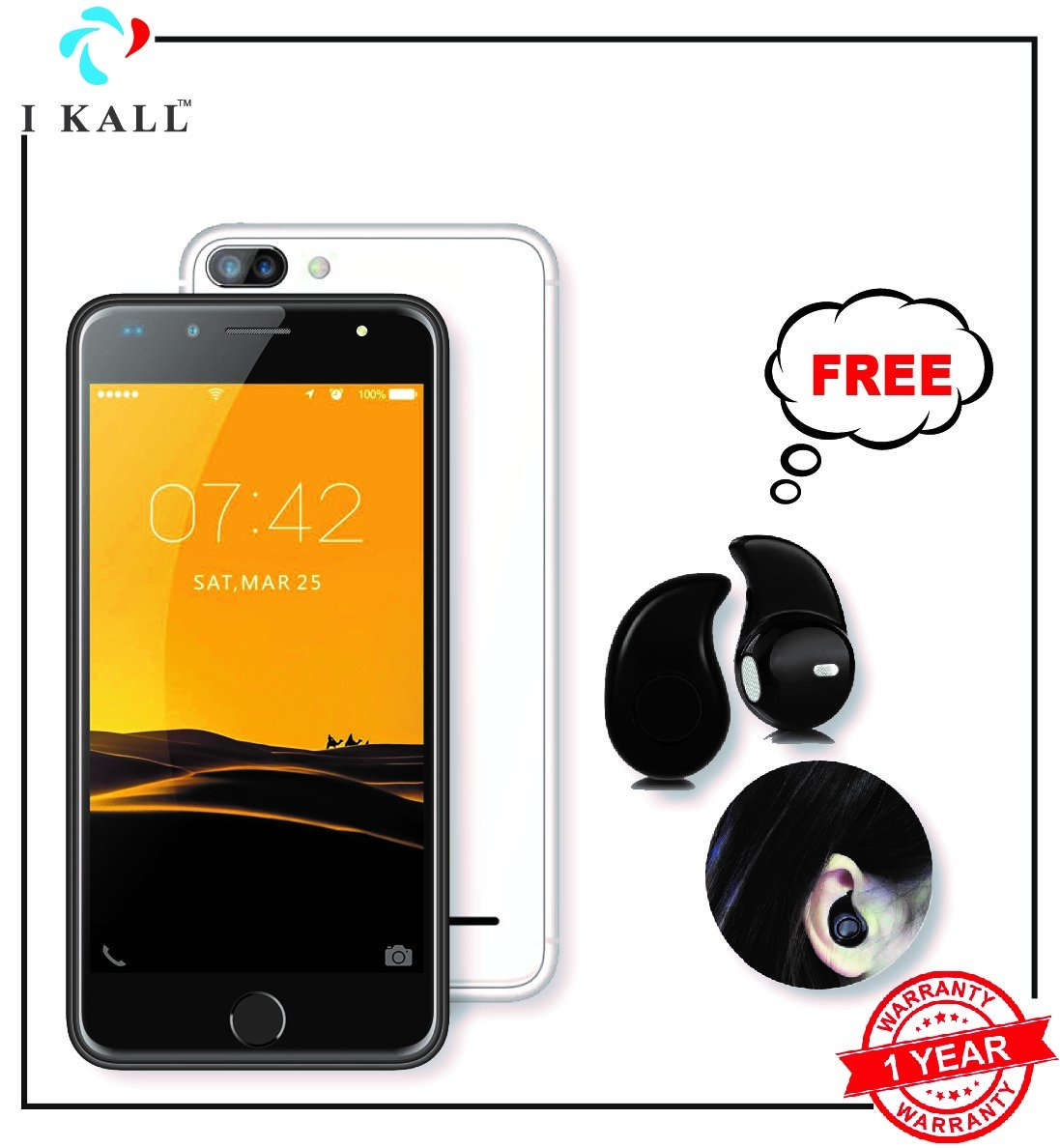 IKALL K1 5 Inch Display (1+8GB) 4G Volte Smart Phone With Freebie Bluetooth Ear-Pod (Silver)