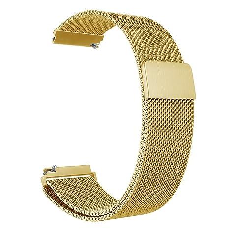 ZGS Correa de Repuesto de 22mm Smartwatch Banda Hombres y Mujeres Bucle de Milano Cierre magnético Pulsera de Metal de Acero Inoxidable Correa de ...