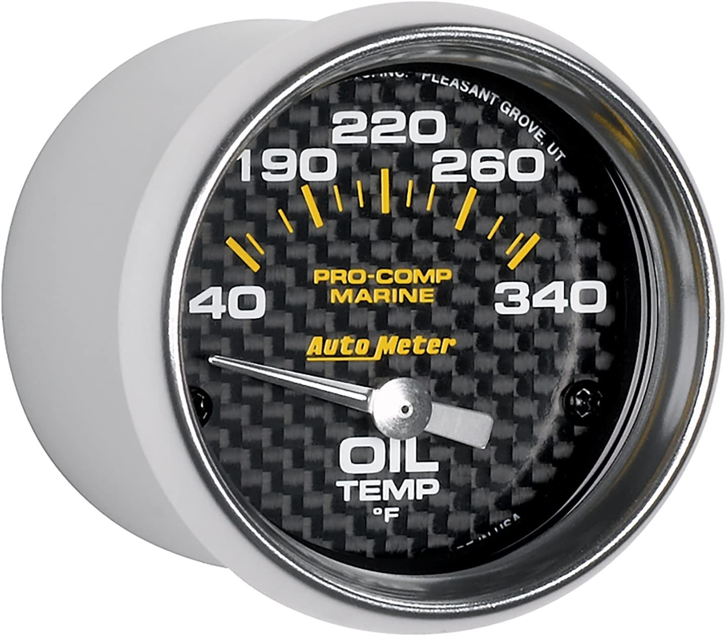 Carbon Fiber Dial Face Silver Pointer White Incandescent Lighting Air Core 140-340 Degree F Marine Electric Oil Temperature Gauge AutoMeter 200764-40 Marine Electric Oil Temperature Gauge 2-1//16 in