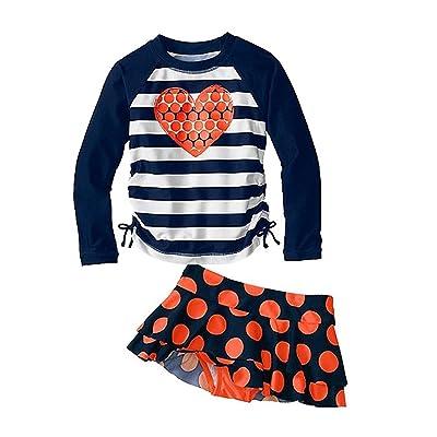 Jojobaby Kid Girls Two Piece Long Sleeve Swimsuits Bathing Suit UPF50