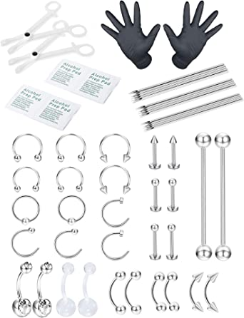 Stainless Steel Tongue Piercing Nipple Ring Helix Tragus Cartilage Body Jewelry
