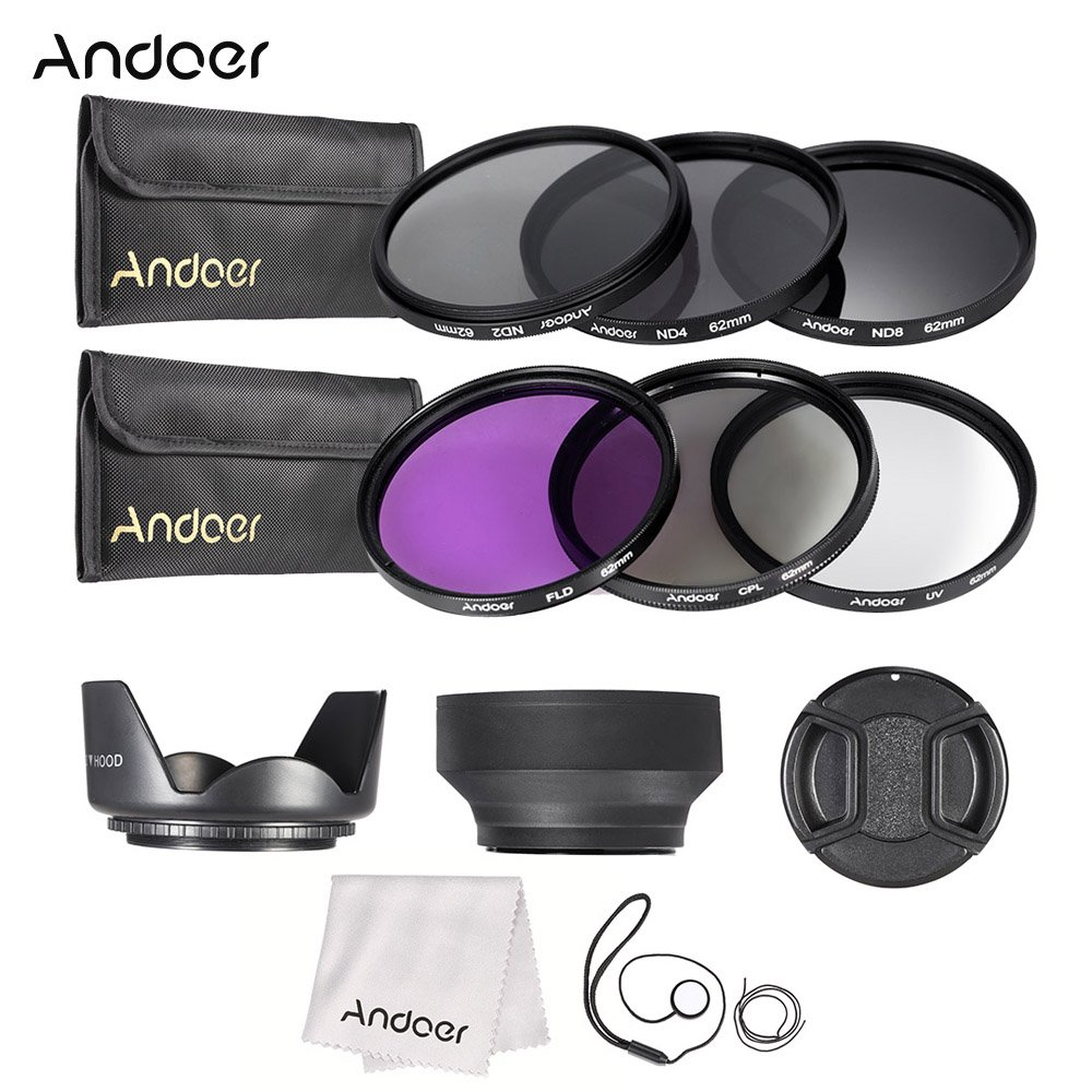 ND2 ND4 ND8 with Carry Pouch//Lens Cap//Lens Cap Holder//Tulip /& Rubber Lens Hoods//Cleaning Cloth Andoer 62mm Lens Filter Kit UV+CPL+FLD+ND