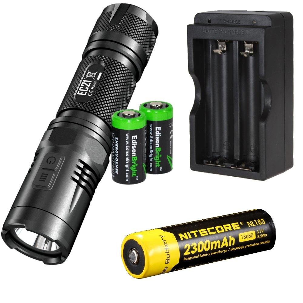 EdisonBright NITECORE EC21 460 Lumens CREE LED compact flashlight with secondary Red LED with Nitecore NL183 rechargeable 18650 Battery, charger and 2 X CR123A Lithium Batteries Bundle