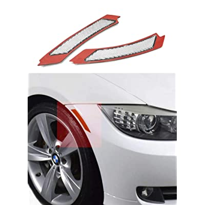 Haneex Crystal Clear/Smoke/Amber/Dark Grey/Red Lens Front Bumper Side Markers Reflector Light Fender Replacement for BMW 3 Series E90 / E91 LCI (Crystal Clear Lens): Automotive