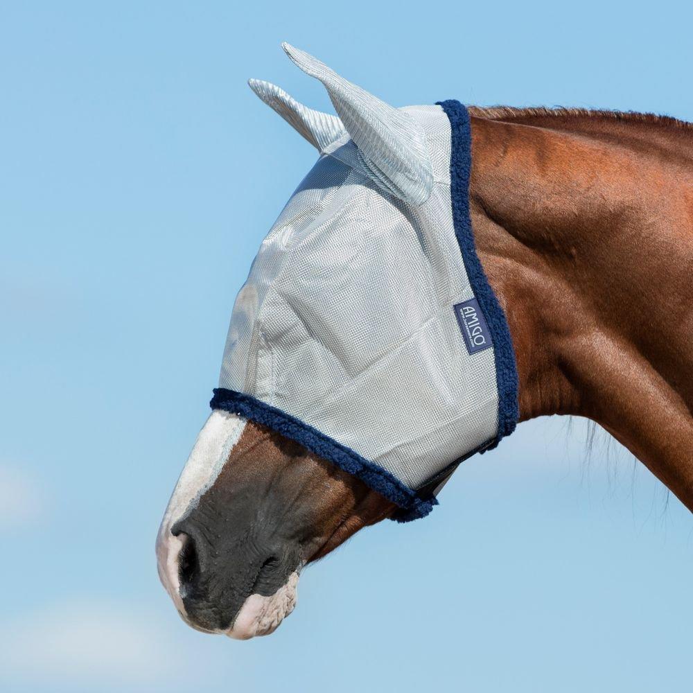 Horseware Amigo Fine Mesh Fly Mask with Ears Silver//Navy