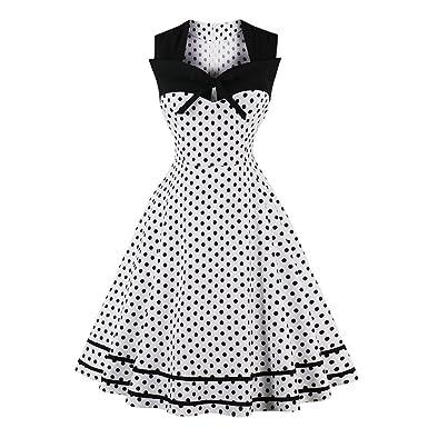 7bf3f556ea2f3 Women s Vintage Evening Dress Plus Size Party Dresses 1950s Rockabilly  Audrey Hepburn Retro Polka Dot White