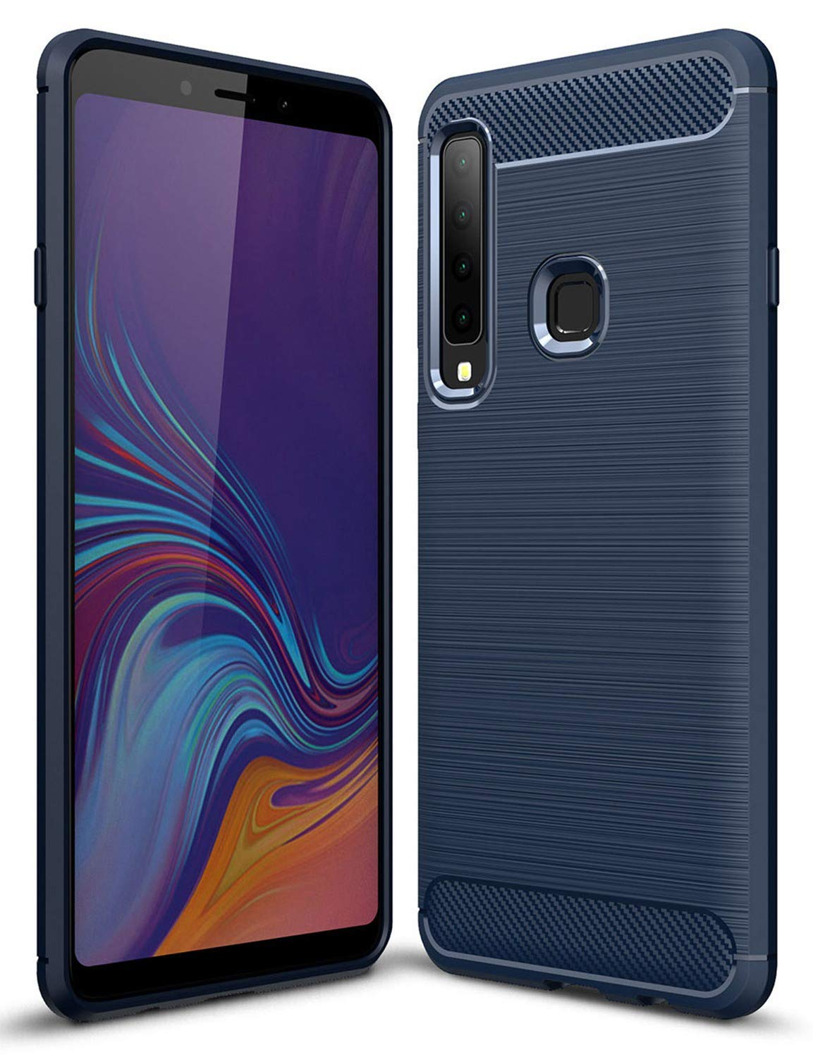 Toppix Case for Samsung Galaxy A9 (2018), Soft TPU Bumper Flexible [Shock Absorption] [Carbon Fiber Texture] Bumper Protective Cover for Galaxy A9 (2018), Blue