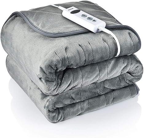 BASEIN Manta eléctrica, manta grande con 10 niveles de temperatura ajustables, temporizador de 9 horas, calentamiento rápido y manta eléctrica lavable a máquina, manta de franela suave: Amazon.es: Hogar