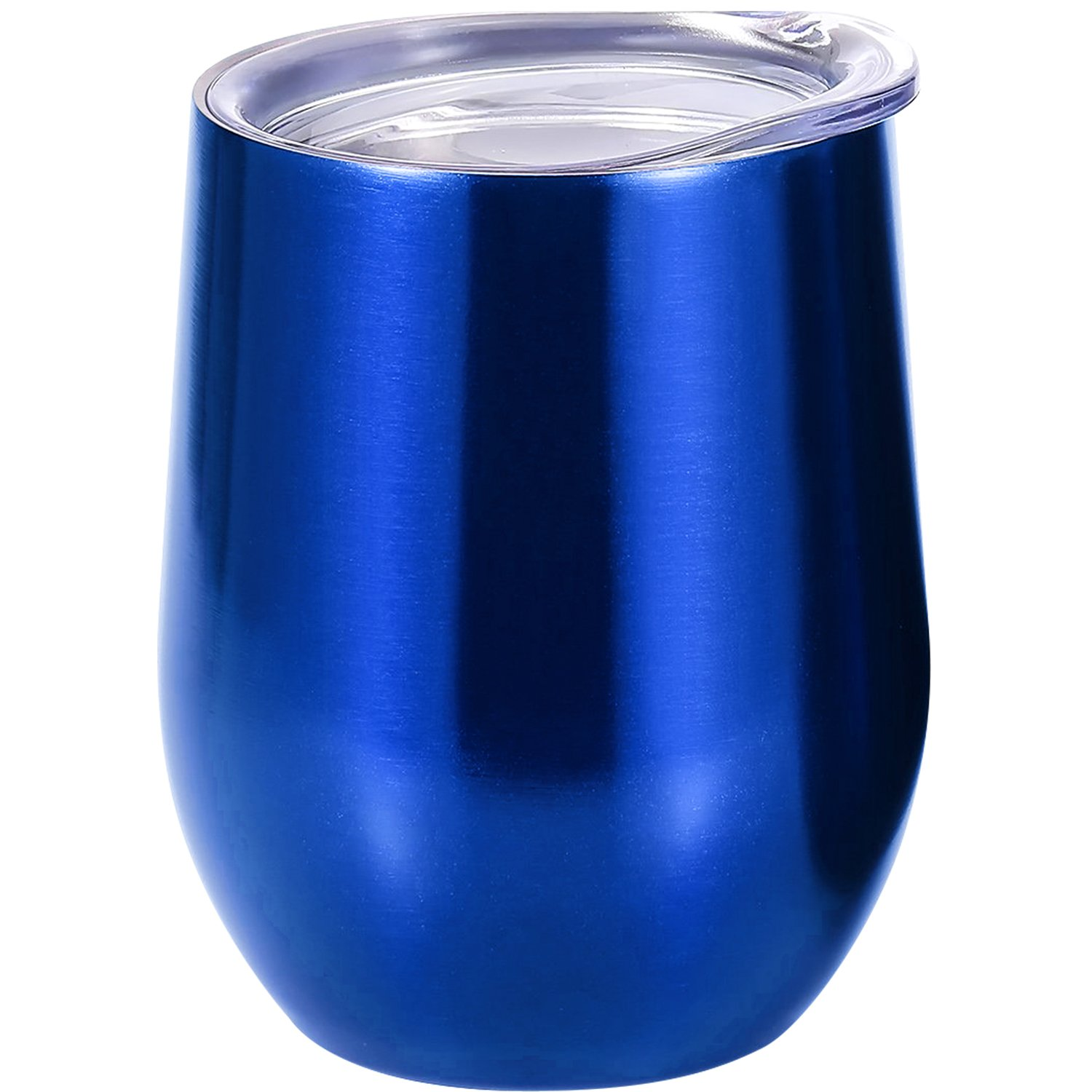 Skylety 12 oz Double-insulated Stemless Glass Wine Tumbler, Stainless Steel Tumbler Cup with Lids for Coffee, Drinks, Champagne, Cocktails (Transparent Blue)