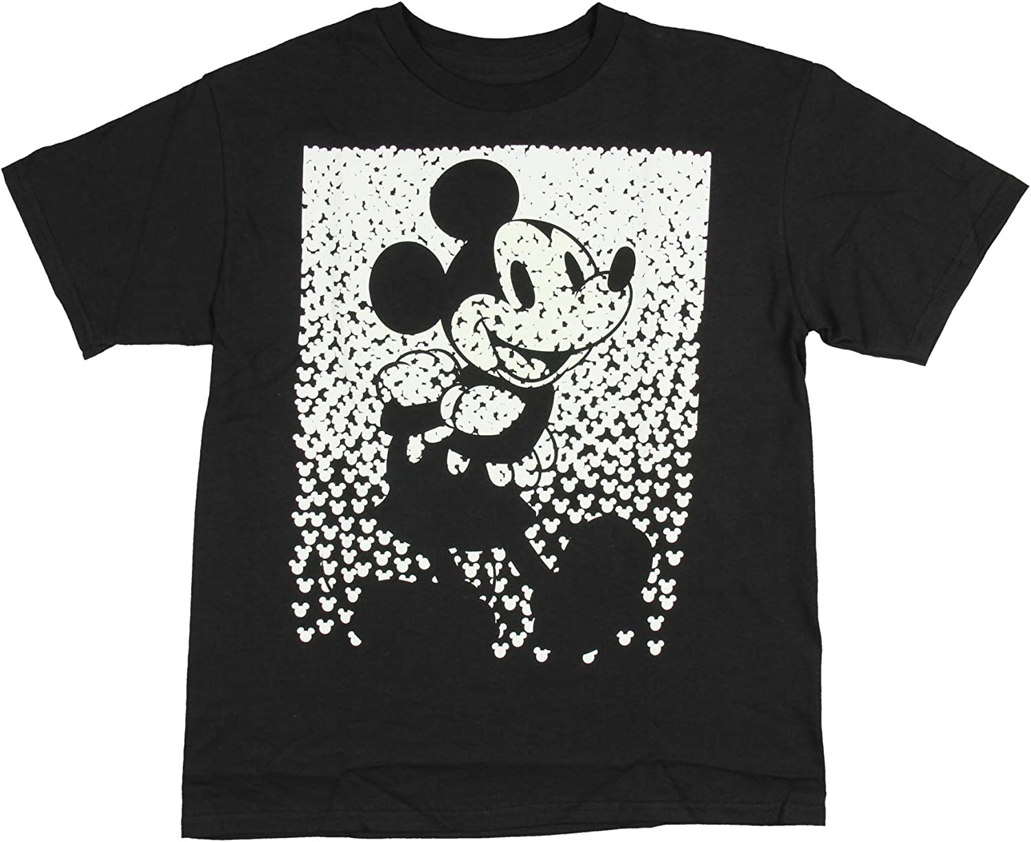 Disney Mickey Mouse Repeating Head Sillouette Glow In The Dark Boys T-Shirt