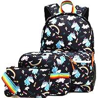 Kemy's 3-Piece Cute Inicorn Rainbow Unicorn Backpack for Girls