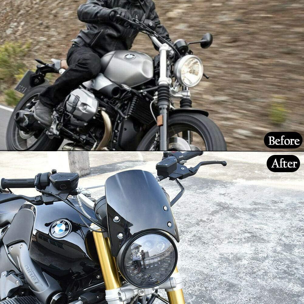 Motocicleta ABS Pl/ástico Parabrisas Mosquitera Deflector de viento Protector de carenado de faros para 2014-2019 BMW R Nine T NineT R9T 2015 2016 2017 2018 Aspecto de fibra de carbono