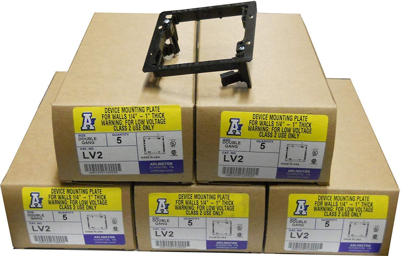 Arlington LV2 Low Voltage Mounting Bracket, 2-Gang, Black, 25-Pack